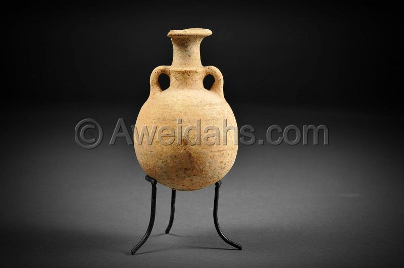 Ancient Cypro-Phoenician pottery flask, 800 - 600 BC