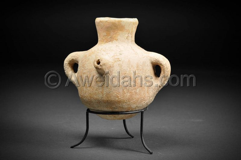 Biblical Iron Age spouted pottery oil jar, 1000 BC
