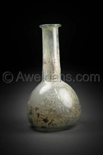 Ancient Roman glass flask, 100 - 300 AD
