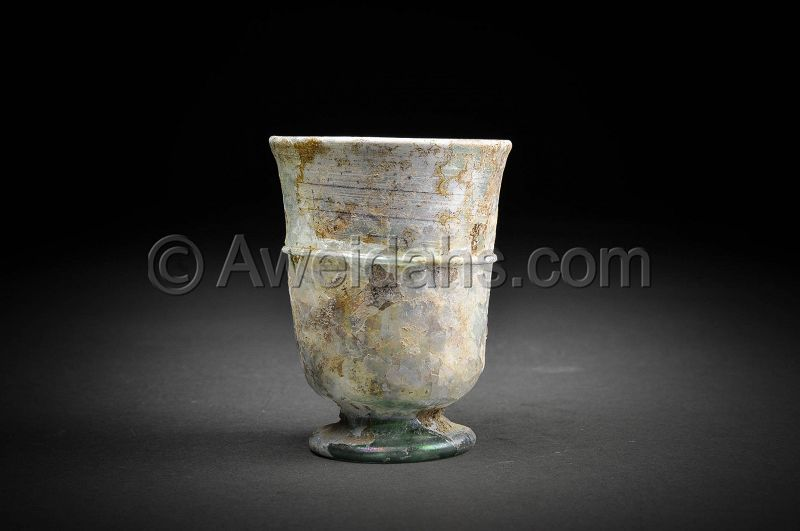 Ancient Roman glass cup, 100 - 300 AD