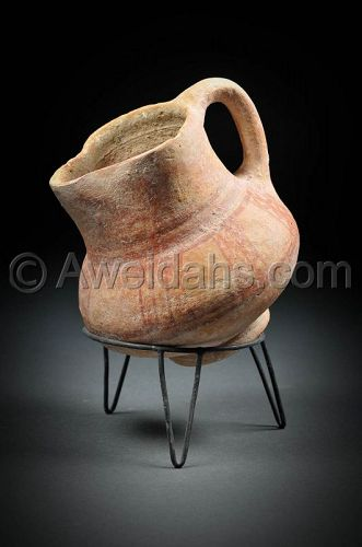 Canaanite Late Bronze Age painted pottery wine pitcher, 1550 BC
