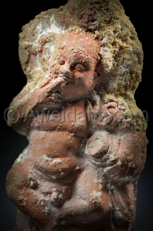 Hollow terracotta figure of harpocrates, 100 BC/AD