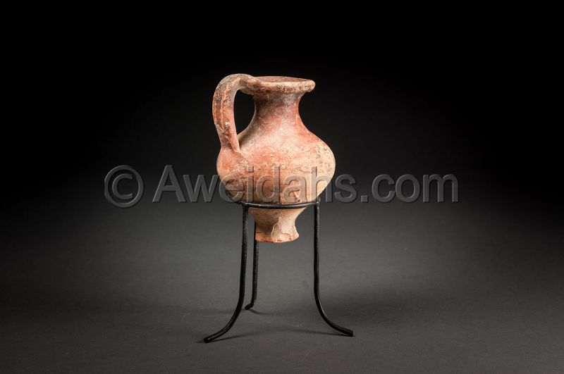 Ancient Greek-Hellenistic painted pottery juglet, 330 BC