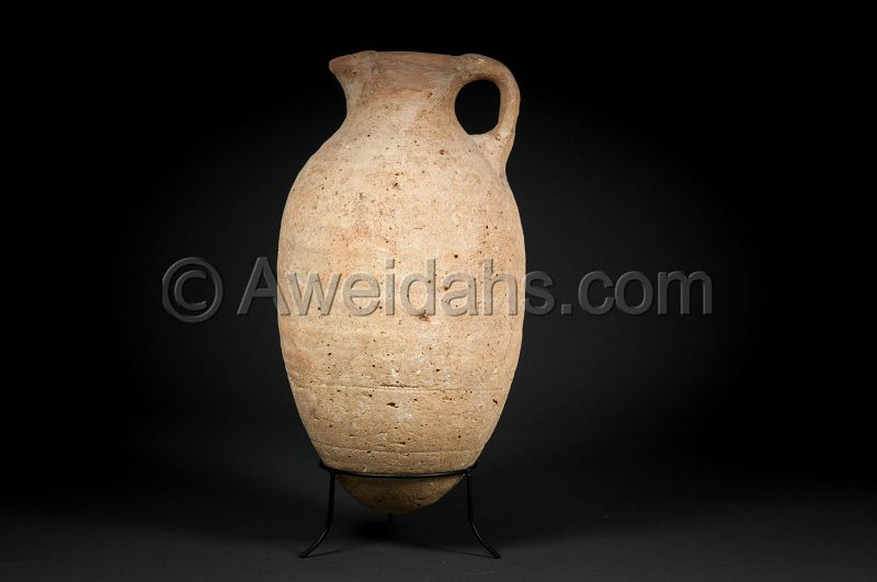 Ancient biblical Iron Age pottery wine pitcher, 1000 BC