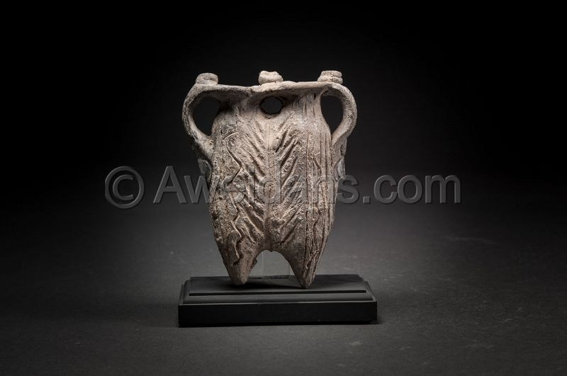 Ancient Byzantine decorated pottery kohl flask, 500 AD