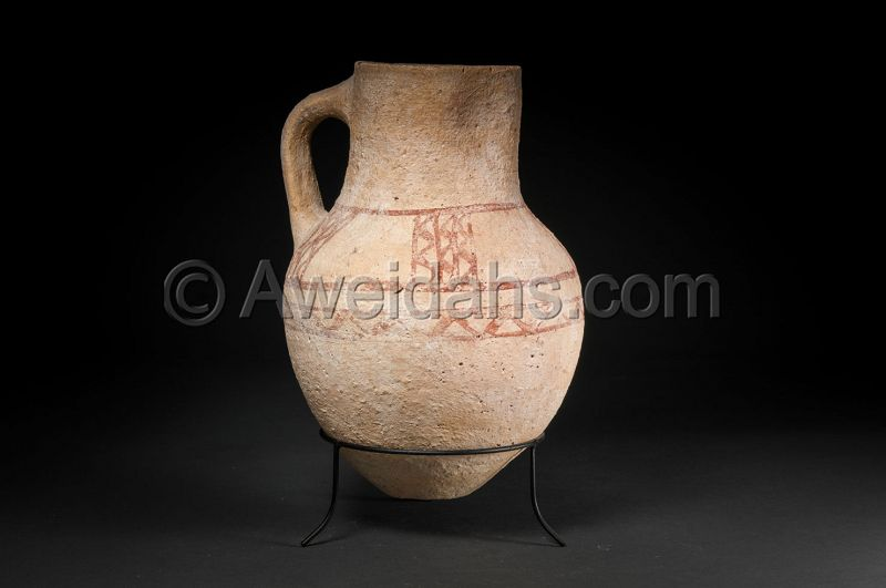 Biblical Late Bronze Age painted pottery wine pitcher, 1550 BC