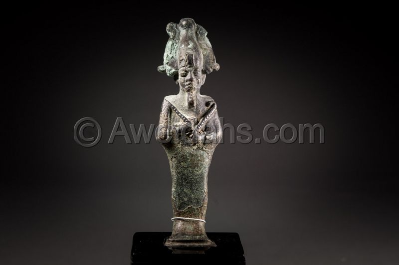 ANCIENT EGYPTIAN BRONZE FIGURE OF OSIRIS, 600 BC