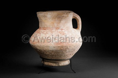 Late Bronze Age painted pottery wine pitcher, 1550 BC