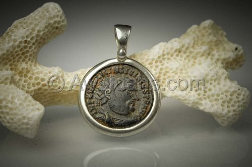 Ancient coin jewelry pendant of emperor Licinius, 300 AD