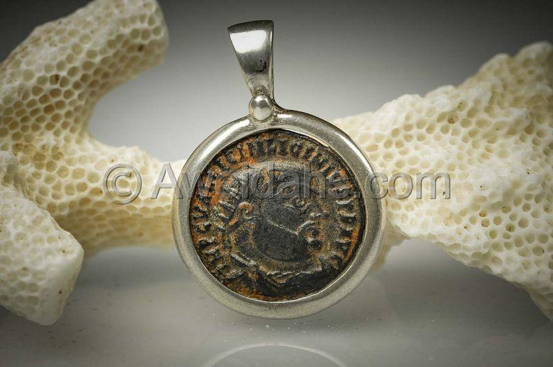 Ancient coin jewelry pendant of emperor Licinius, 300 AD