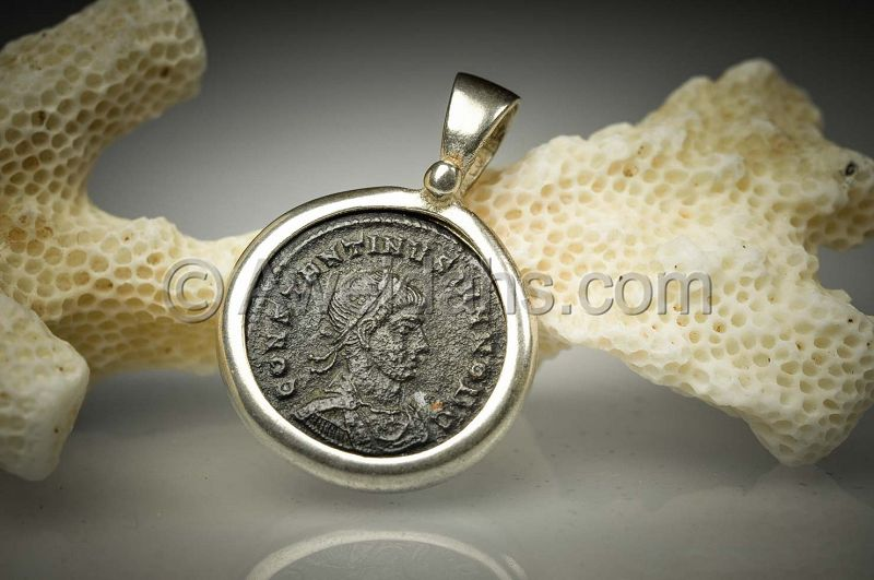 Ancient coin jewelry pendant of Constantine II, 300 AD