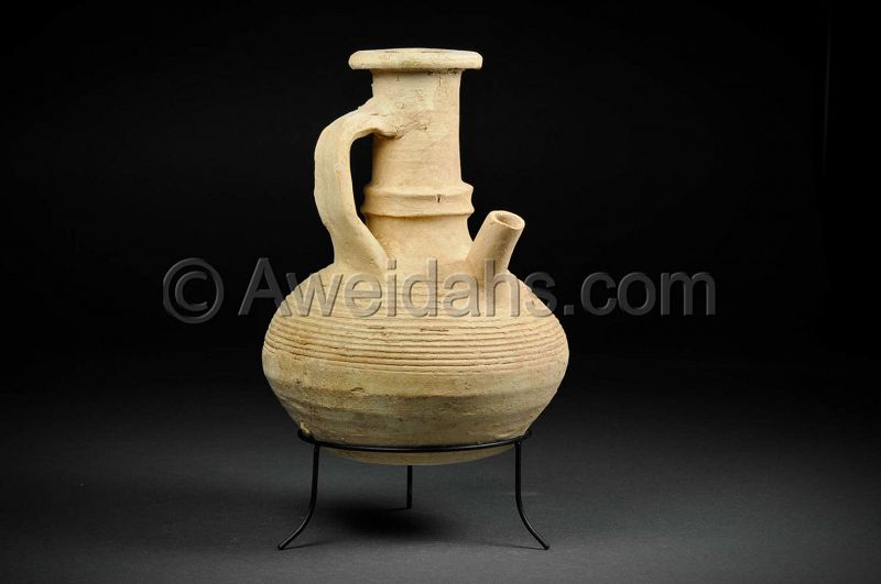 Ancient Byzantine spouted pottery vessel, 500 AD