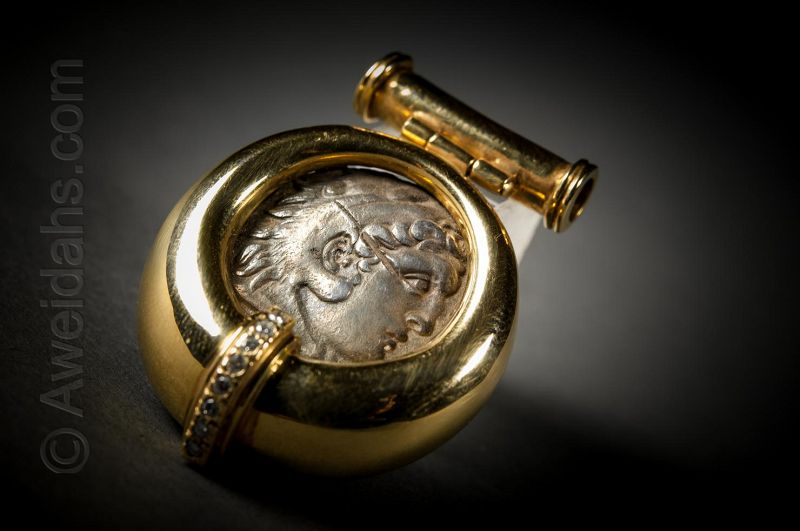 Greek silver drachm of Alexander the Great pendant, 336 � 323 BC