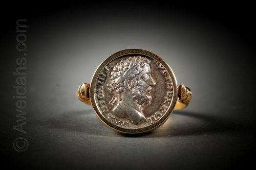 Ancient Roman silver denarius set in 18K gold jewelry ring