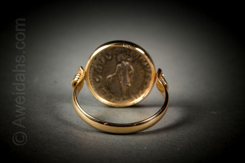 Ancient Roman silver denarius set in 18K gold jewelry ring