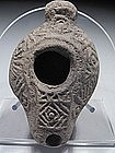 Roman highly decorated terracotta oil lamp,200 - 300 AD
