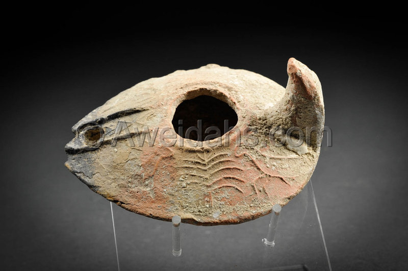 Ancient Islamic highly decorated pottery oil lamp, 8th Cent. AD
