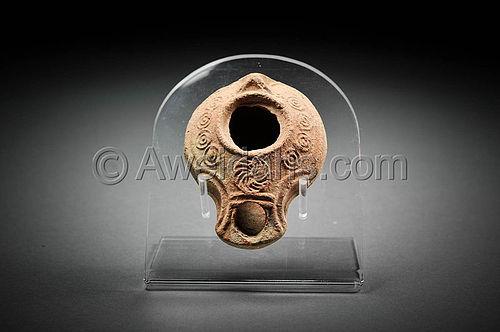 Late Roman Large Terracotta Oil Lamp, 400 AD