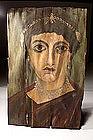 Egyptian Wooden Fayyoum Portrait Of A Woman