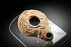 Roman Darom Decorated Pottery Oil Lamp, 70-150 AD