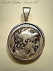 Ancient Greek Silver Drachm Of Antiochus Pendant,100 BC