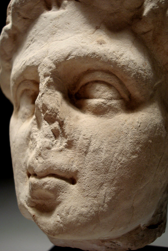 Ancient Roman Limestone Head Of A Youth, 100 - 300 Ad