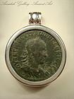 Ancient Roman Bronze Coin On Silver Pendant, 200 AD
