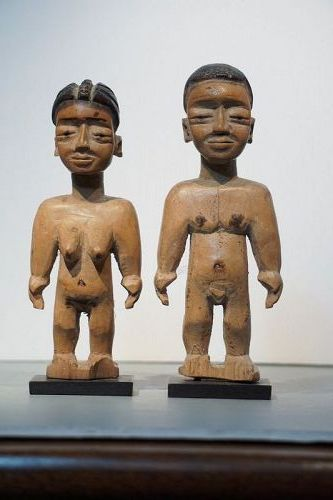 African Male and Female Twin Ewe Figures from Ghana or Togo
