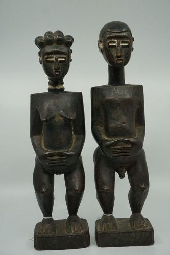 African Male & Female Lagoon Figures from Ivory Coast