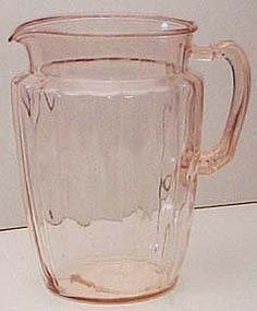 Hocking Pink Pillar Optic Pitcher