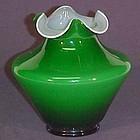 """Fenton Ivy Overlay 5.5"""" Vase"""