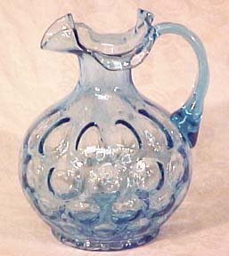 """Fenton Forget-Me-Not Blue Coin Optic 7"""" Jug"""