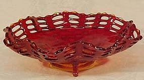 "Fenton Red Basketweave 9"" 3-footed Bowl"