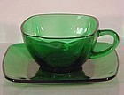 Fire King Charm Green Cup & Saucer