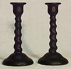 Tiffin Black Satin Twisted Candlesticks