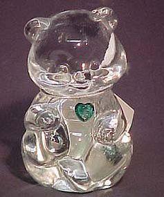 Fenton Crystal Bear with Green Heart