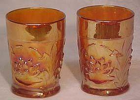 Fenton Waterlillies & Cattails Tumbler, Marigold