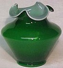 "Fenton Cased Ivy Green 7"" Vase"