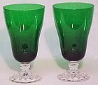 Fostoria Colonial Dame Forest Green Ice Teas (2)