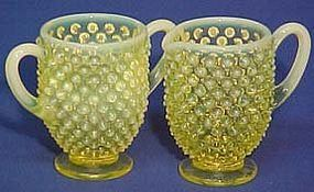 Fenton Topaz Hobnail Creamer and Sugar