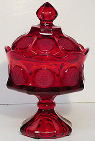 Fostoria Red Coin Covered Candy (wedding box)