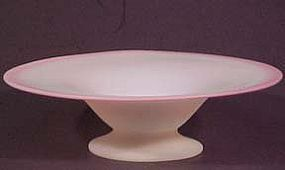 Stueben art bowl, blue with blushed edge