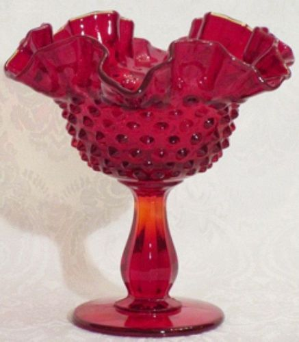 Fenton Red Hobnail Comport