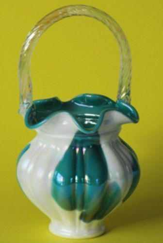 Fenton Teal & Milkglass Irridized Basket, Connoisseur Collection
