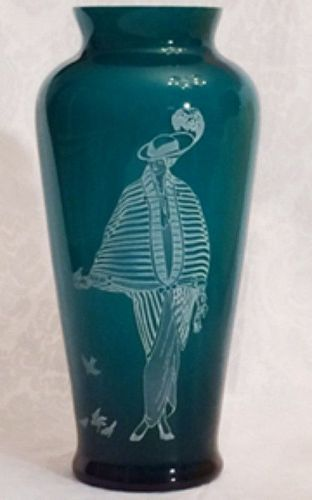 "Fenton Danielle 10.5"" Cased Teal Vase, Connoisseur Collection"