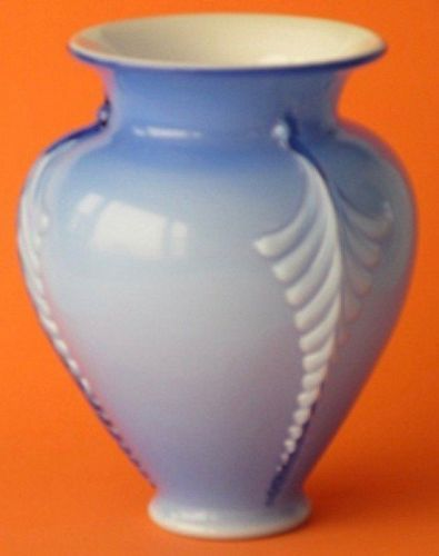 Fenton Cased Blue 3-Panel Feathered Vase