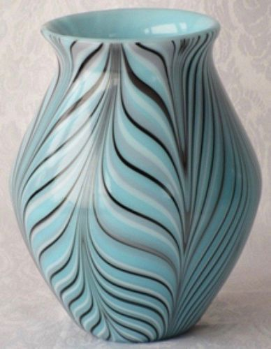 Fenton Barber Vase, Pulled Feather on Turquoise
