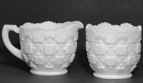 Westmoreland Quilt Pattern Creamer and Sugar, Milk glass