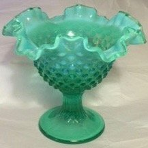 Fenton Green Opalescent Hobnail Compote, 7.5""