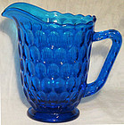 Fenton Colonial Blue 34 oz. Pitcher, Thumbprint